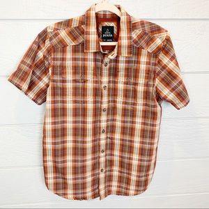 PrAna Short Sleeve Plaid Button Up Shirt